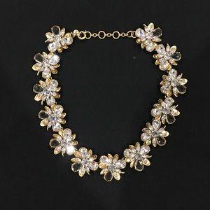 J Crew Gold Floral Crystal Statement Necklace